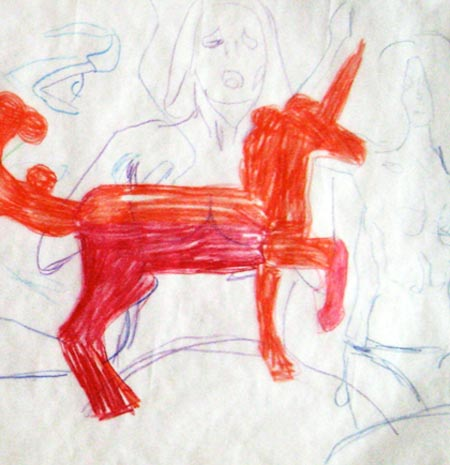 Untitled (red unicorn detail)